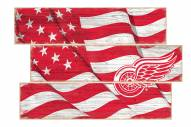 Detroit Red Wings Flag 3 Plank Sign