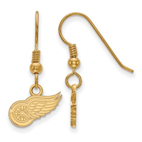 Detroit Red Wings Sterling Silver Gold Plated Extra Small Dangle Earrings