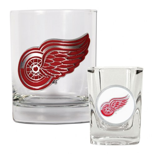 Detroit Red Wings NHL Rocks Glass and Square Shot Glass - 2 Piece Set
