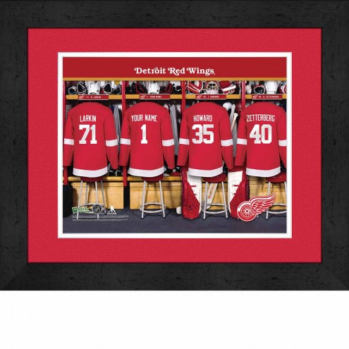 Detroit Red Wings Personalized Locker Room 13 x 16 Framed Photograph
