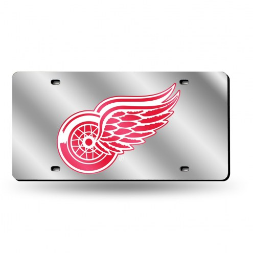 Detroit Red Wings Silver Laser License Plate