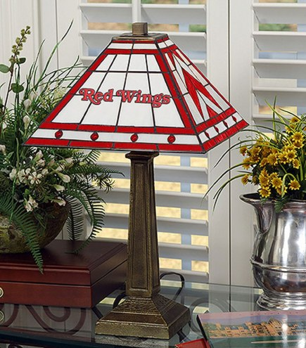 Detroit Red Wings Stained Glass Mission Table Lamp