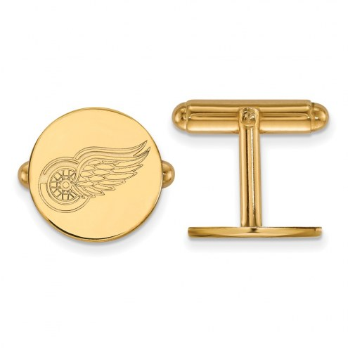 Detroit Red Wings Sterling Silver Gold Plated Cuff Links
