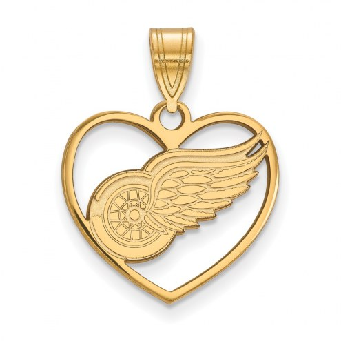 Detroit Red Wings Sterling Silver Gold Plated Heart Pendant