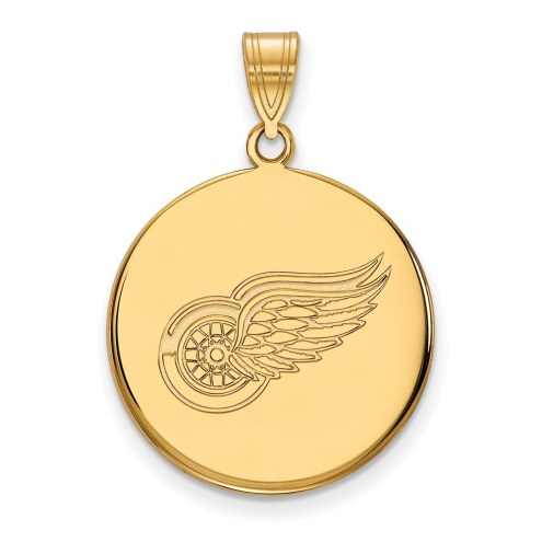 Detroit Red Wings Sterling Silver Gold Plated Large Disc Pendant