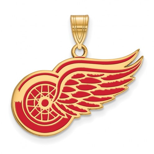 Detroit Red Wings Sterling Silver Gold Plated Large Enameled Pendant