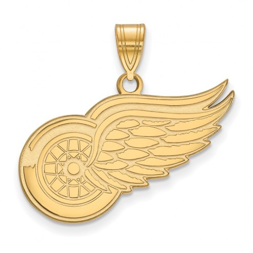 Detroit Red Wings Sterling Silver Gold Plated Large Pendant