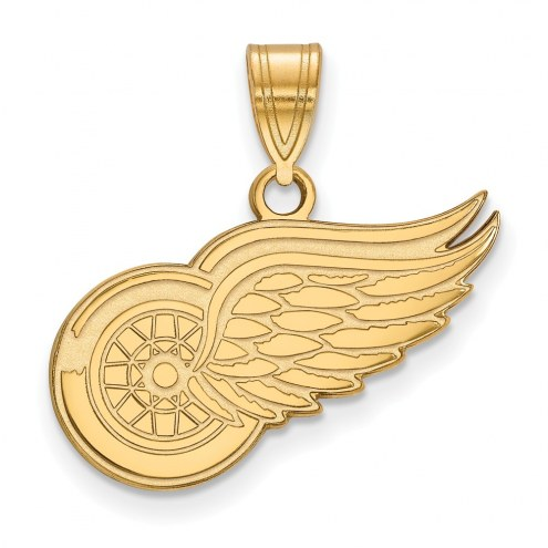 Detroit Red Wings Sterling Silver Gold Plated Medium Pendant