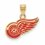 Detroit Red Wings Sterling Silver Gold Plated Small Enameled Pendant