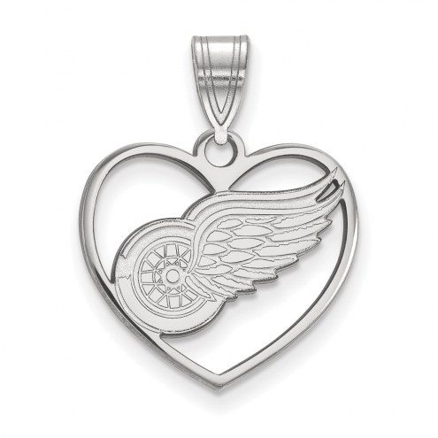 Detroit Red Wings Sterling Silver Heart Pendant