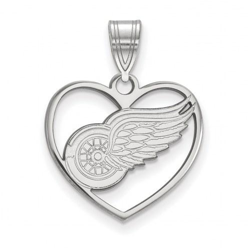 Detroit Red Wings Sterling Silver Heart Pendant