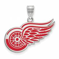 Detroit Red Wings Sterling Silver Large Enameled Pendant