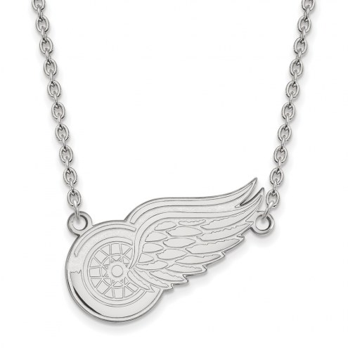 Detroit Red Wings Sterling Silver Large Pendant Necklace