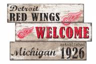 Detroit Red Wings Welcome 3 Plank Sign