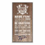 Detroit Tigers Family Rules Icon Wood Framed Printed Canvas