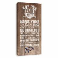 Detroit Tigers Family Rules Icon Wood Printed Canvas