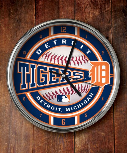Detroit Tigers Chrome Wall Clock