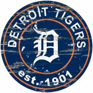 Detroit Tigers Distressed Round Sign
