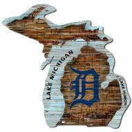 Detroit Tigers Distressed State with Logo Sign