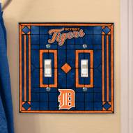 Detroit Tigers Glass Double Switch Plate Cover