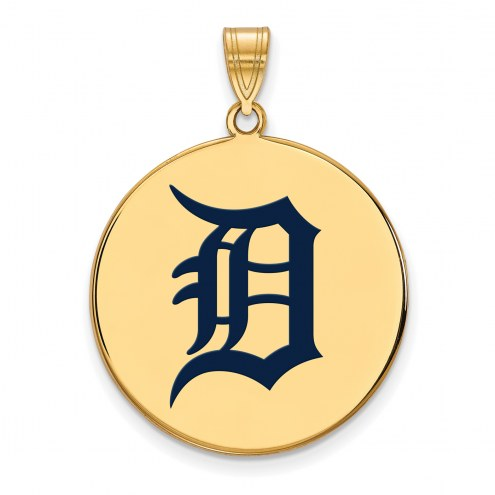 Detroit Tigers Sterling Silver Gold Plated Extra Large Enameled Disc Pendant