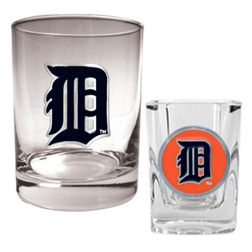 Detroit Tigers MLB 14 Oz Rocks Glass & Square Shot Glass 2-Piece Set
