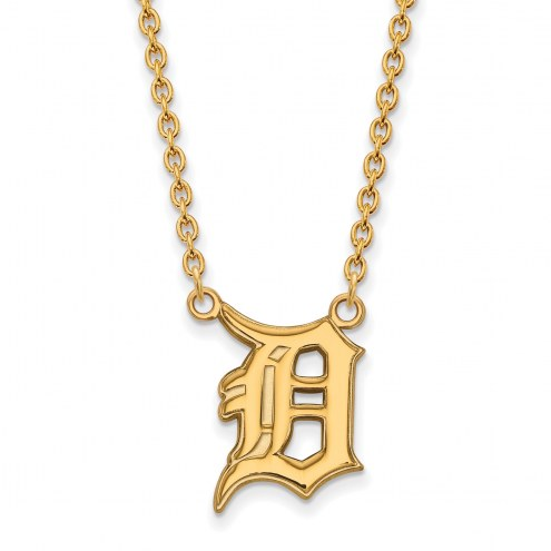 Detroit Tigers MLB Sterling Silver Gold Plated Large Pendant Necklace