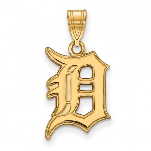Detroit Tigers MLB Sterling Silver Gold Plated Large Pendant