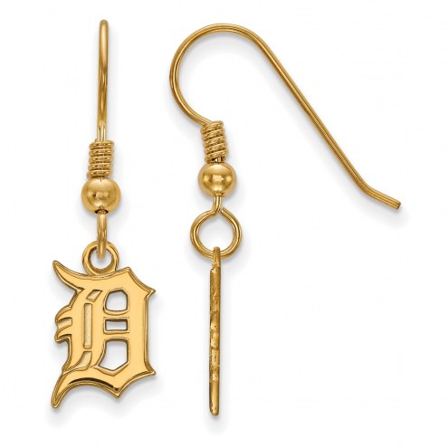 Detroit Tigers MLB Sterling Silver Gold Plated Small Dangle Earrings