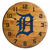 Detroit Tigers Oak Barrel Clock