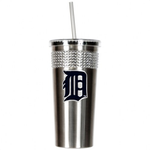 Detroit Tigers Stainless Steel Bling Tumbler with Straw
