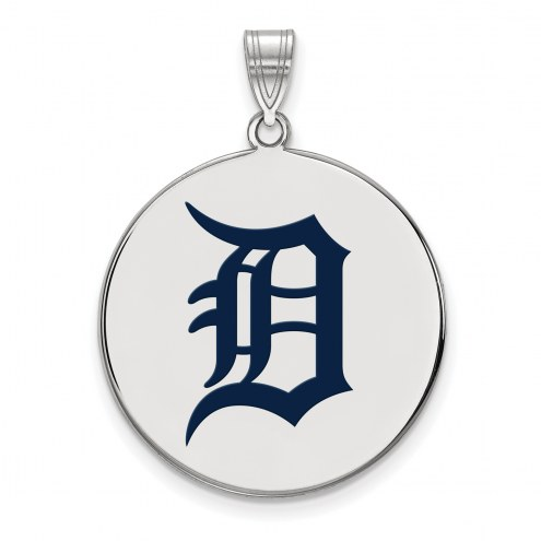 Detroit Tigers Sterling Silver Extra Large Enameled Disc Pendant