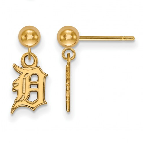 Detroit Tigers Sterling Silver Gold Plated Dangle Ball Earrings