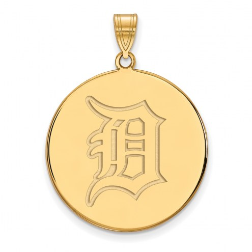 Detroit Tigers Sterling Silver Gold Plated Extra Large Disc Pendant