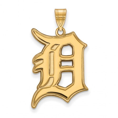 Detroit Tigers Sterling Silver Gold Plated Extra Large Pendant