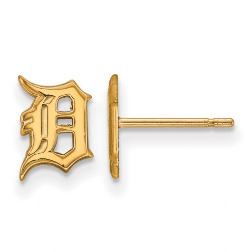 Detroit Tigers Sterling Silver Gold Plated Extra Small Post Earrings
