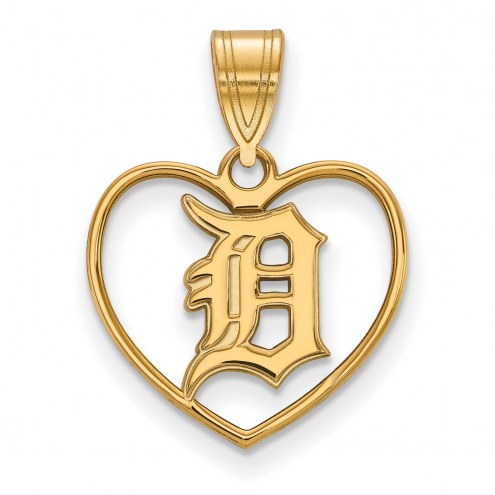 Detroit Tigers Sterling Silver Gold Plated Heart Pendant