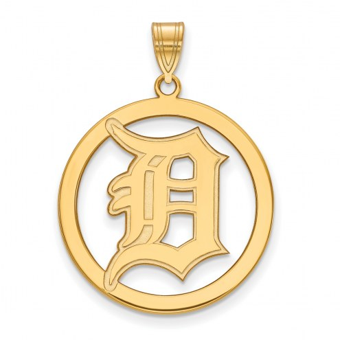 Detroit Tigers Sterling Silver Gold Plated Large Circle Pendant