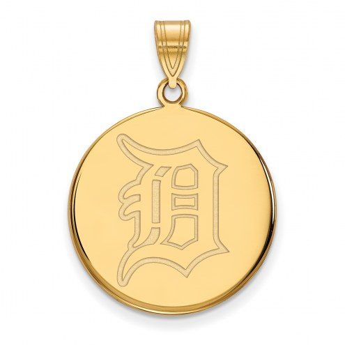 Detroit Tigers Sterling Silver Gold Plated Large Disc Pendant