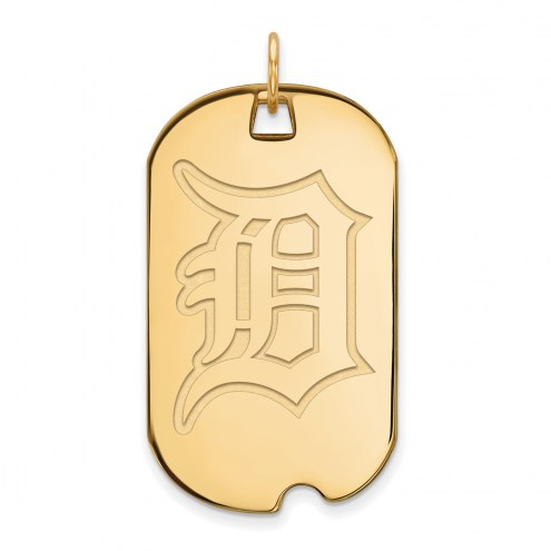 Detroit Tigers Sterling Silver Gold Plated Large Dog Tag
