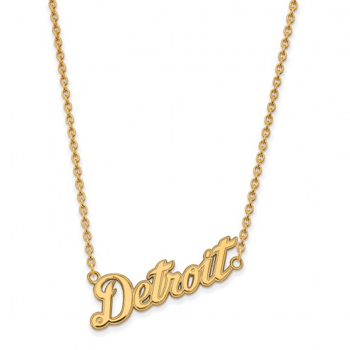 Detroit Tigers Sterling Silver Gold Plated Large Pendant Necklace