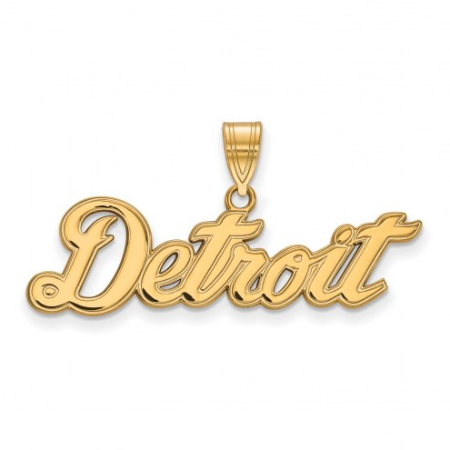 Detroit Tigers Sterling Silver Gold Plated Large Pendant