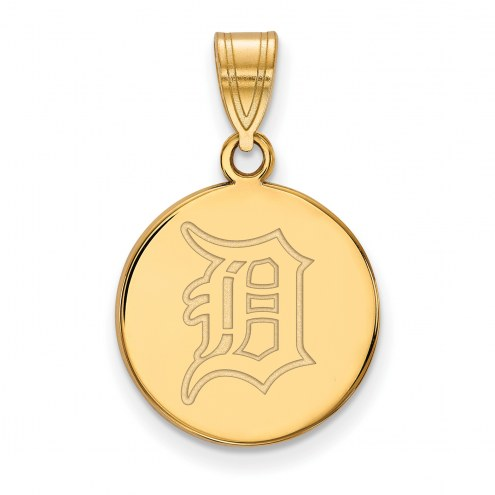 Detroit Tigers Sterling Silver Gold Plated Medium Disc Pendant