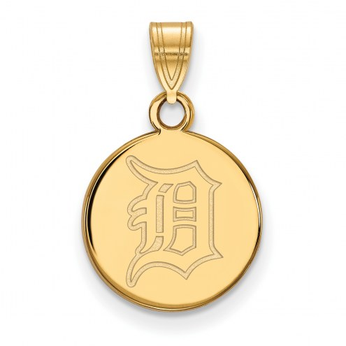 Detroit Tigers Sterling Silver Gold Plated Small Disc Pendant