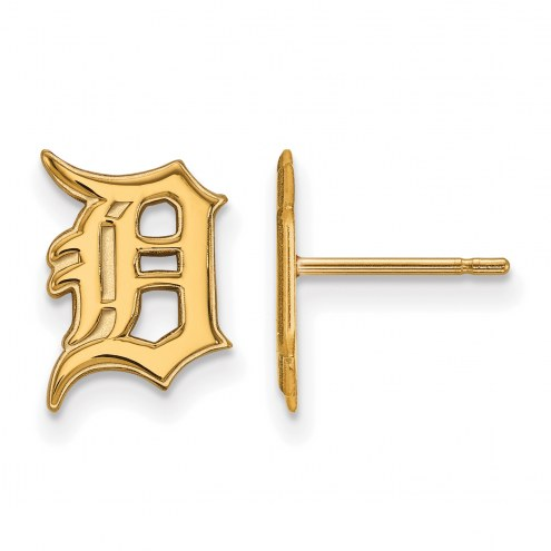 Detroit Tigers Sterling Silver Gold Plated Small Post Earrings