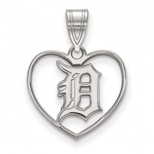Detroit Tigers Sterling Silver Heart Pendant