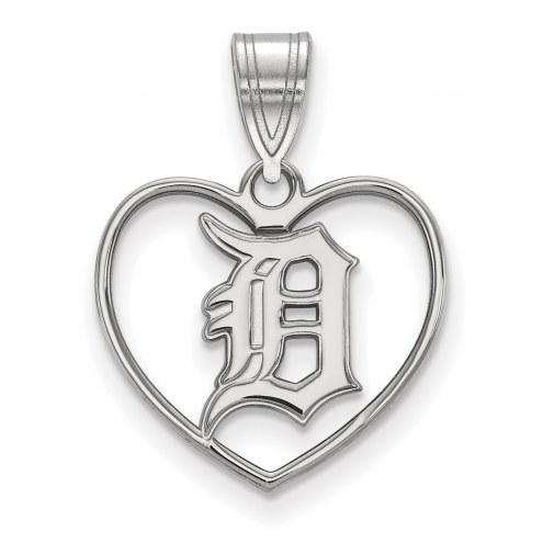 Detroit Tigers Sterling Silver Heart Pendant