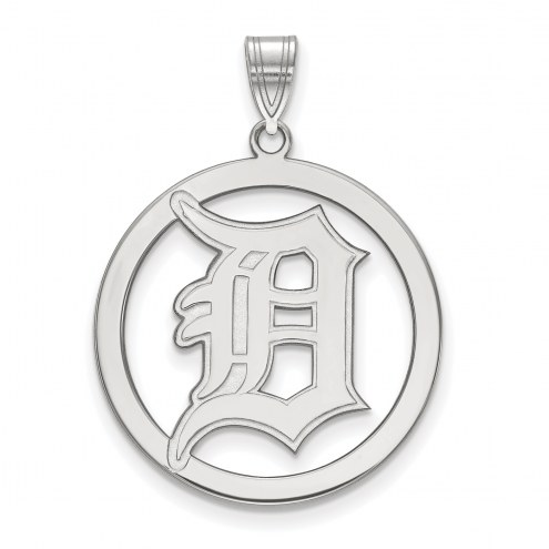 Detroit Tigers Sterling Silver Large Circle Pendant