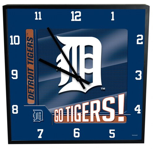 Detroit Tigers Team Black Square Clock