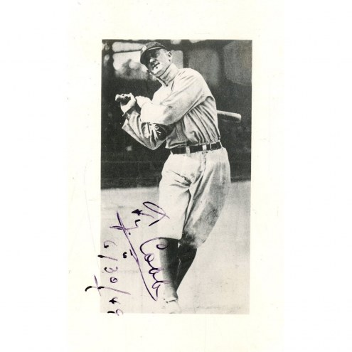 Detroit Tigers Ty Cobb Signed 2.75 x 4.25 Black and White Photo